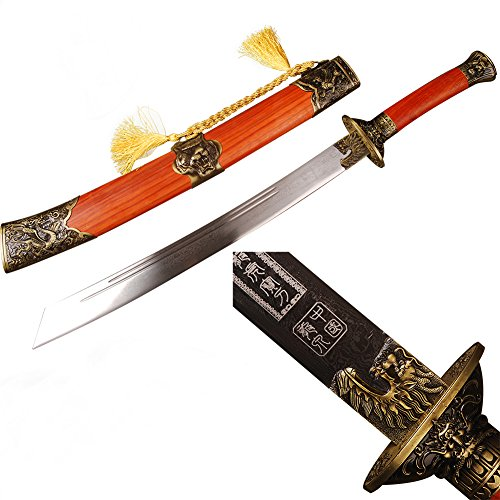 Red Wood Scabbard Dragon Tiger Broadsword Folded Steel